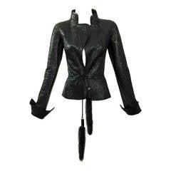 2004 TOM FORD/YVES SAINT LAURENT quilted leather jacket w/ mink fur belt
