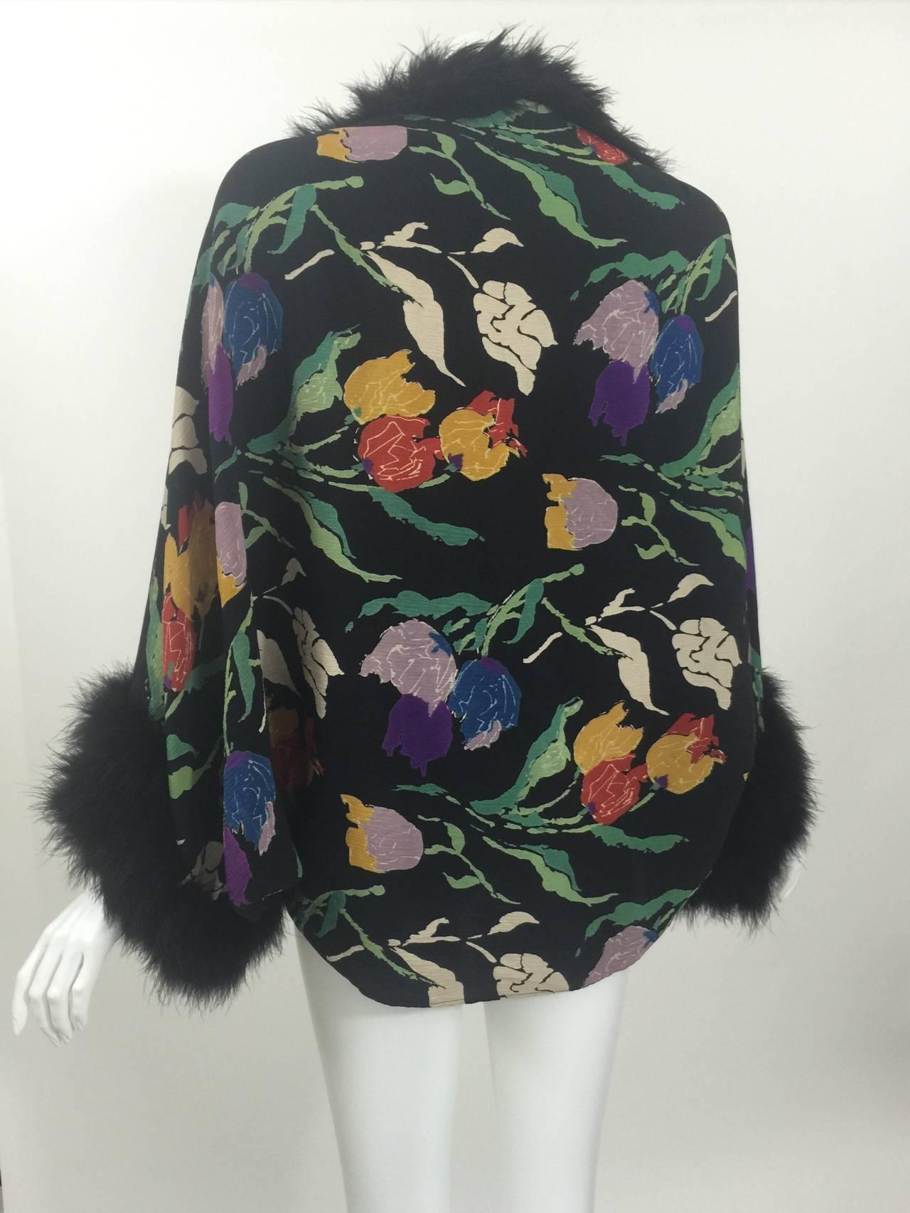 Vintage 1930's Printed Silk Crepe & Marabou Feather Dolman Sleeve Evening jacket 4