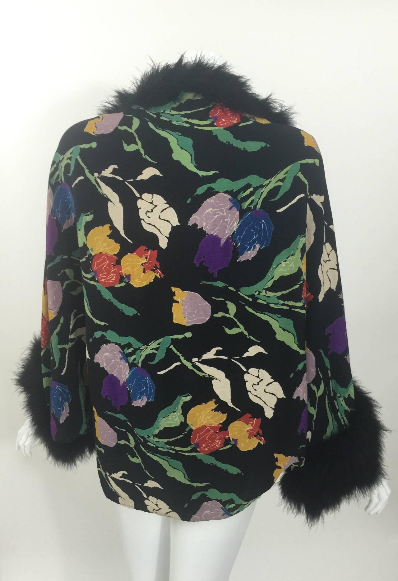 Vintage 1930's Printed Silk Crepe & Marabou Feather Dolman Sleeve Evening jacket 5
