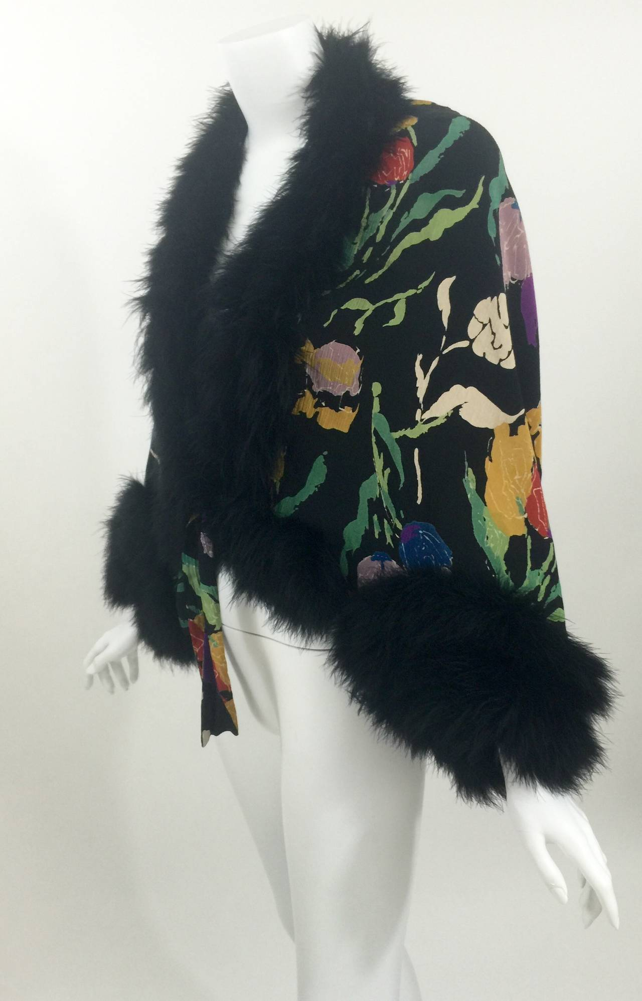 Vintage 1930's Printed Silk Crepe & Marabou Feather Dolman Sleeve Evening jacket 7