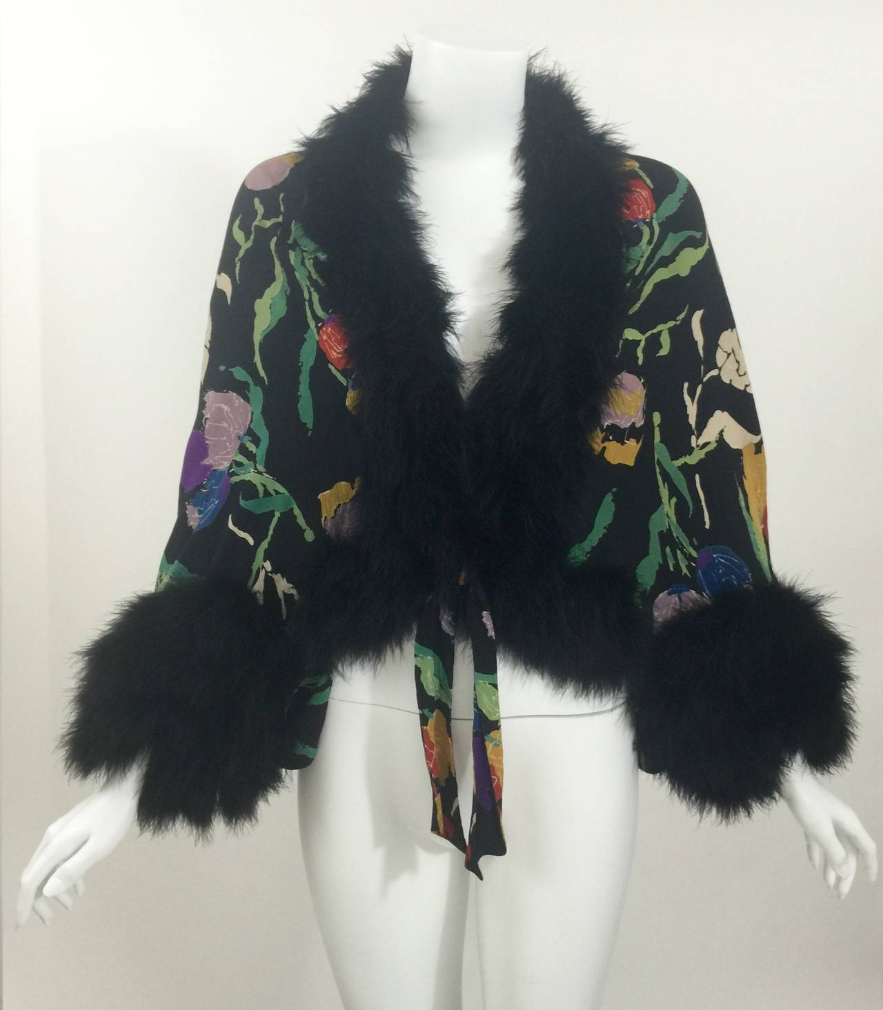 Vintage 1930's Printed Silk Crepe & Marabou Feather Dolman Sleeve Evening jacket 3