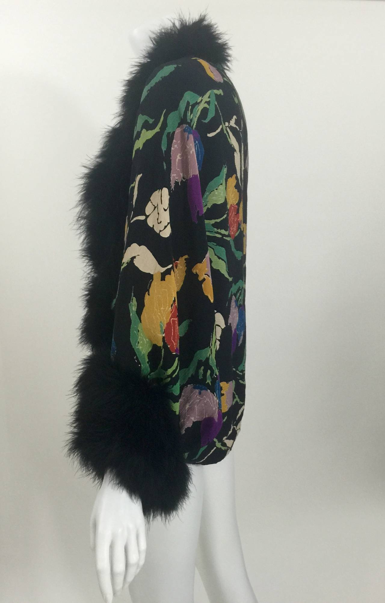 Vintage 1930's Printed Silk Crepe & Marabou Feather Dolman Sleeve Evening jacket 8