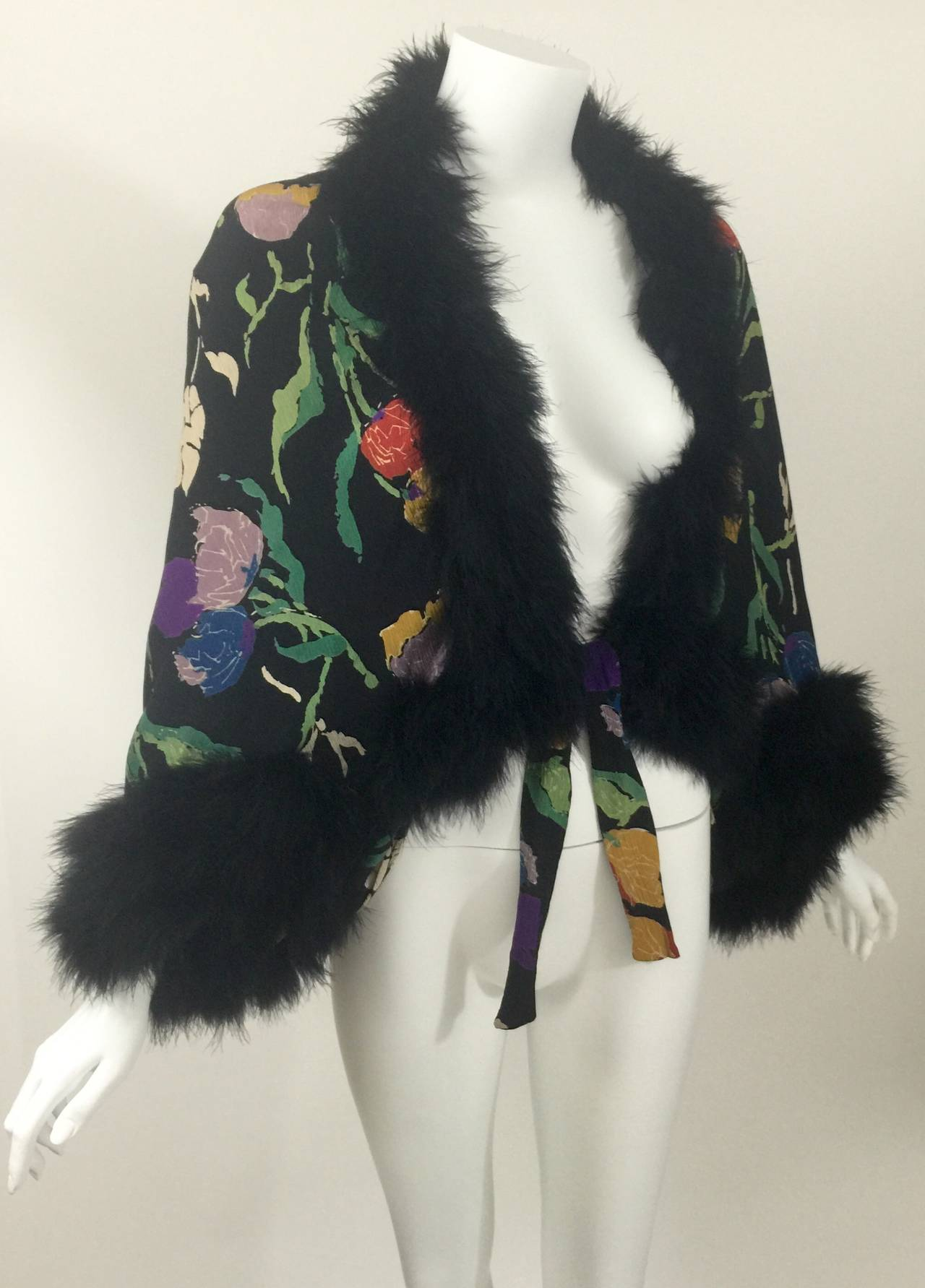 Vintage 1930's Printed Silk Crepe & Marabou Feather Dolman Sleeve Evening jacket 10