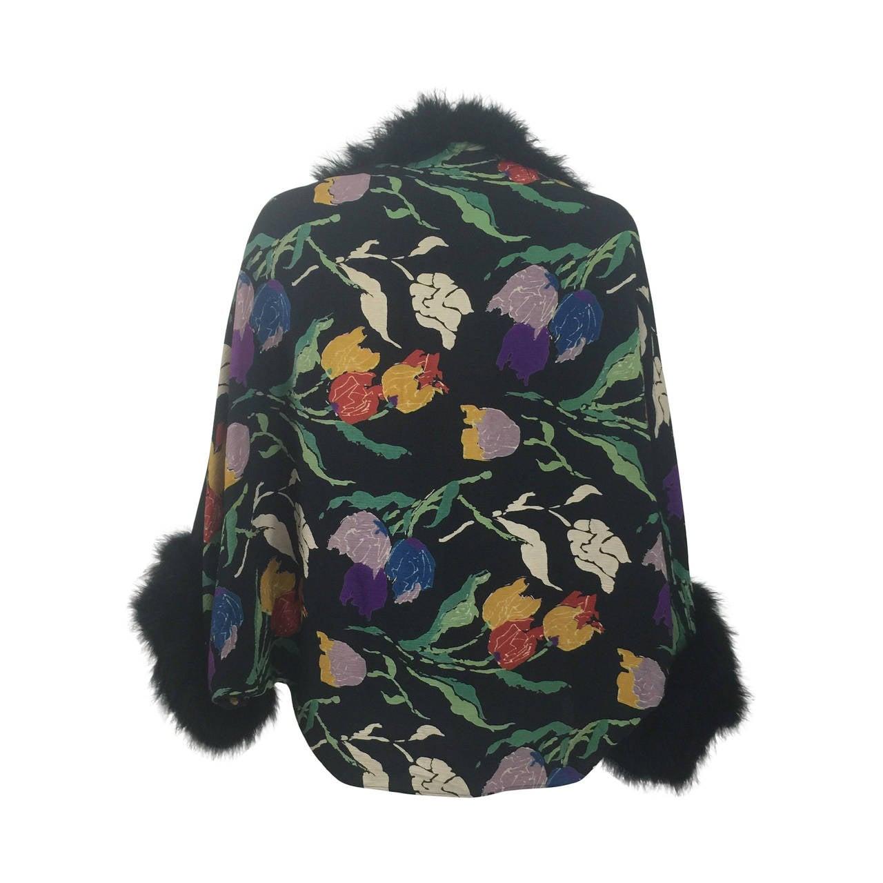 Vintage 1930's Printed Silk Crepe & Marabou Feather Dolman Sleeve Evening jacket 1
