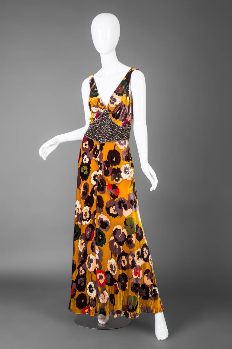 A stunning Missoni Pansy print maxi dress. Velvet with crystal embellished waist detail. Buttons in the back.  Size estimate: S/M