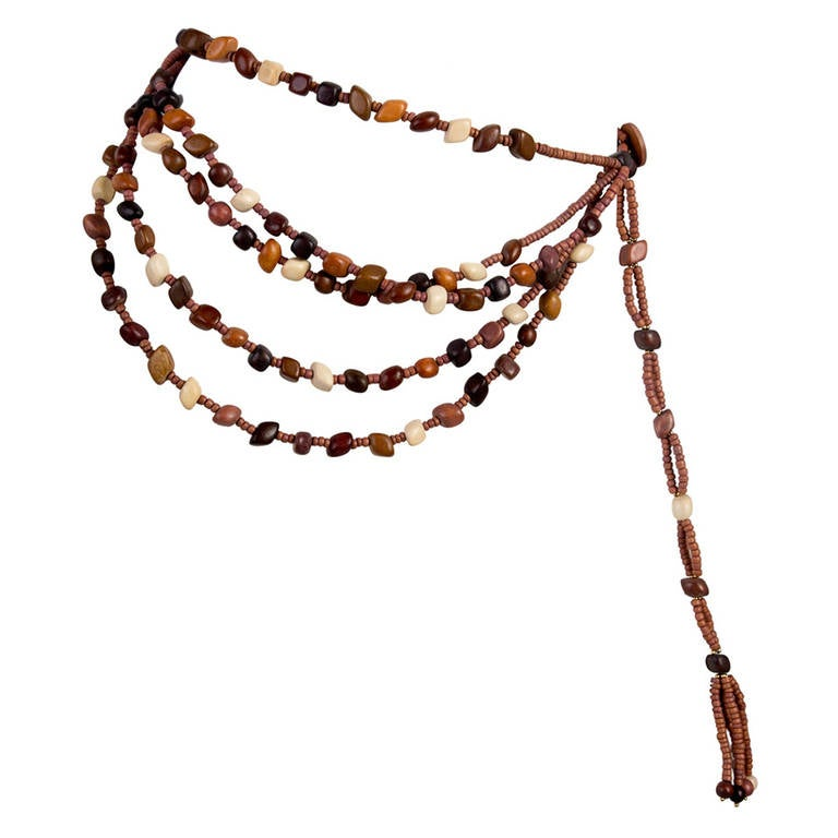 Marry McFadden Five Strand Wood Bead Belt with Tags and Box 1