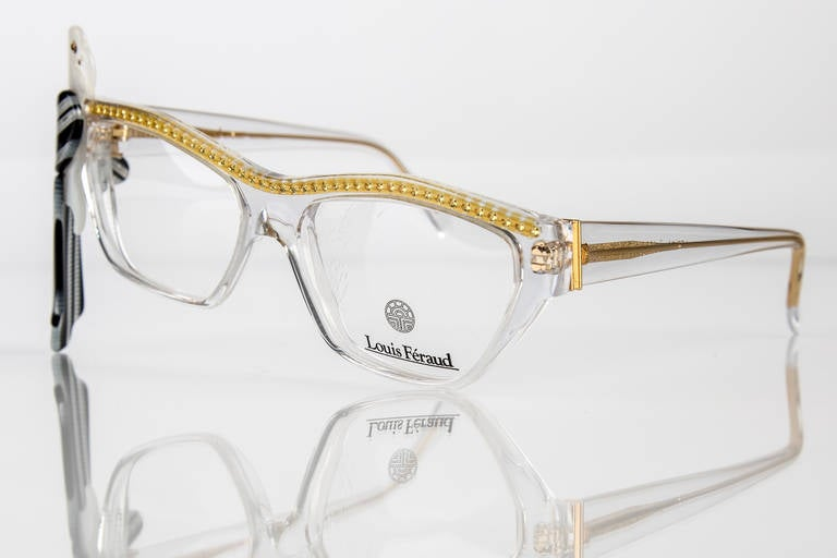 1980s Louis Feraud Yellow & Black  Parrot Frames for Glasses & Sunglasses In New Condition For Sale In Boca Raton, FL