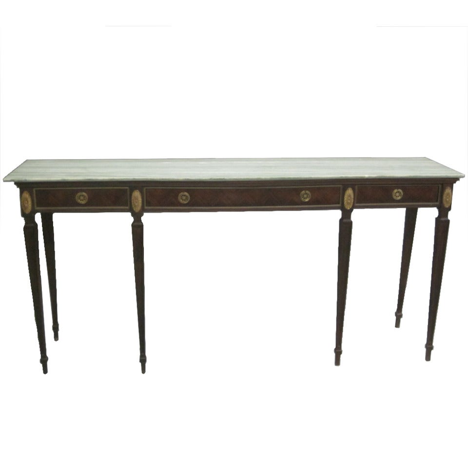 Large Italian Mid-Century Modern Neoclassical Wood & Marble Console, Paolo Buffa For Sale