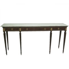 Large Italian Mid-Century Modern Neoclassical Wood & Marble Console, Paolo Buffa
