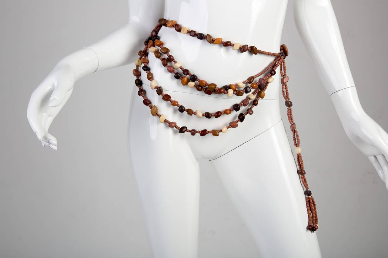 Marry McFadden Five Strand Wood Bead Belt with Tags and Box 2