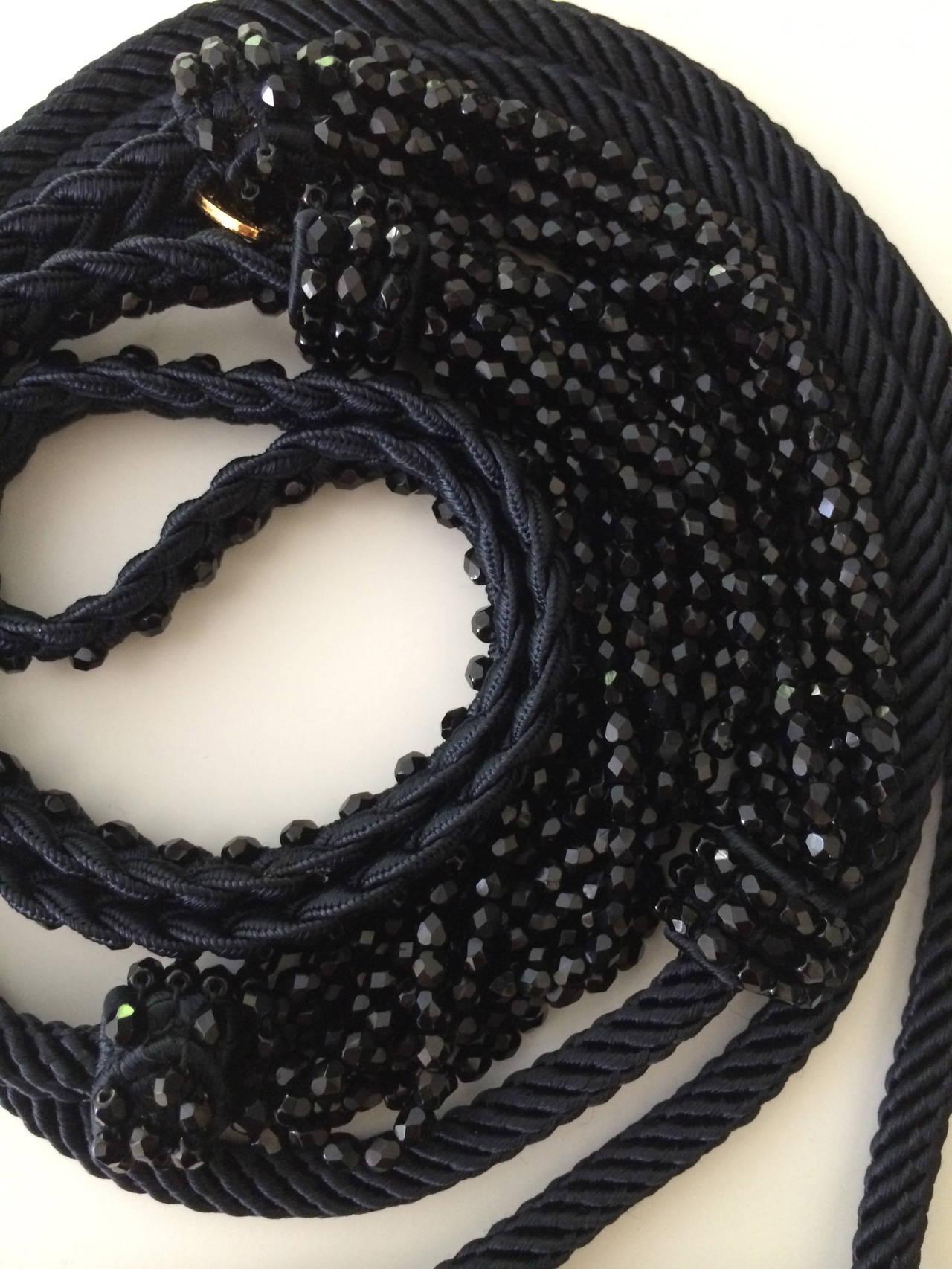 Women's 1990s Yves Saint Laurent Black Beaded Rope & Tassel Necklace Belt YSL Vintage  For Sale
