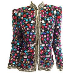 Victoria Royal Vintage Jeweled Rhinestone Colorful Jacket