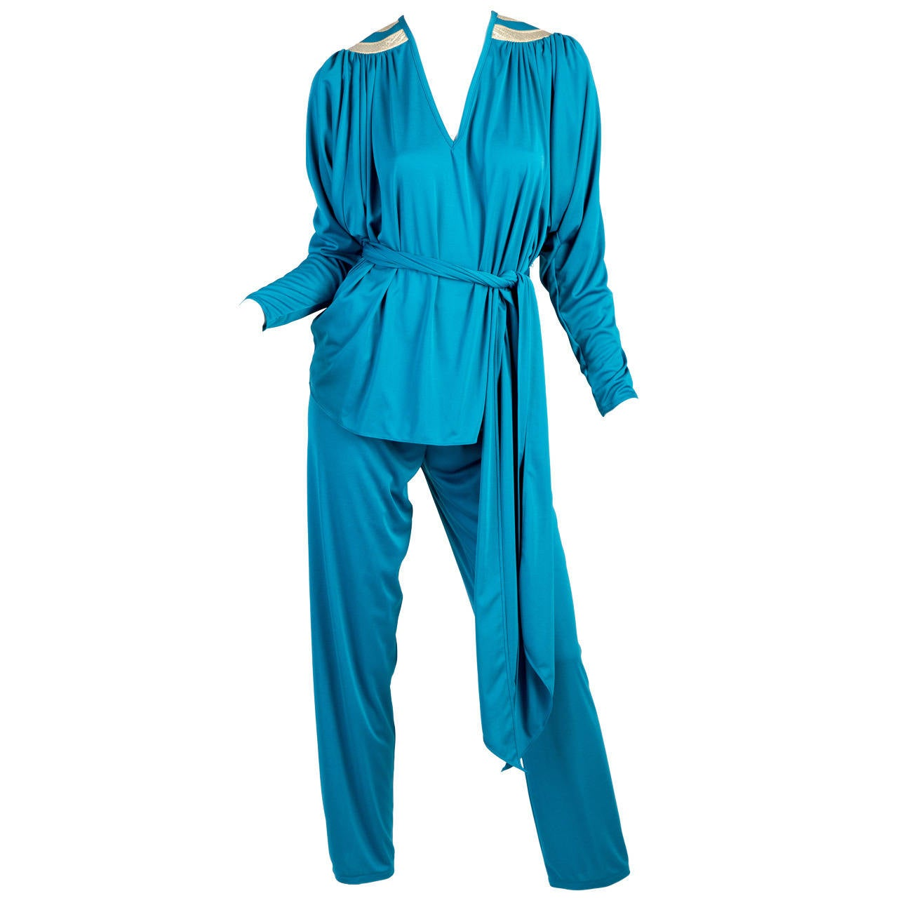 1970s Bill Tice Turquoise & Gold Gathered Jersey Dolman Sleeve Top & Pants Set