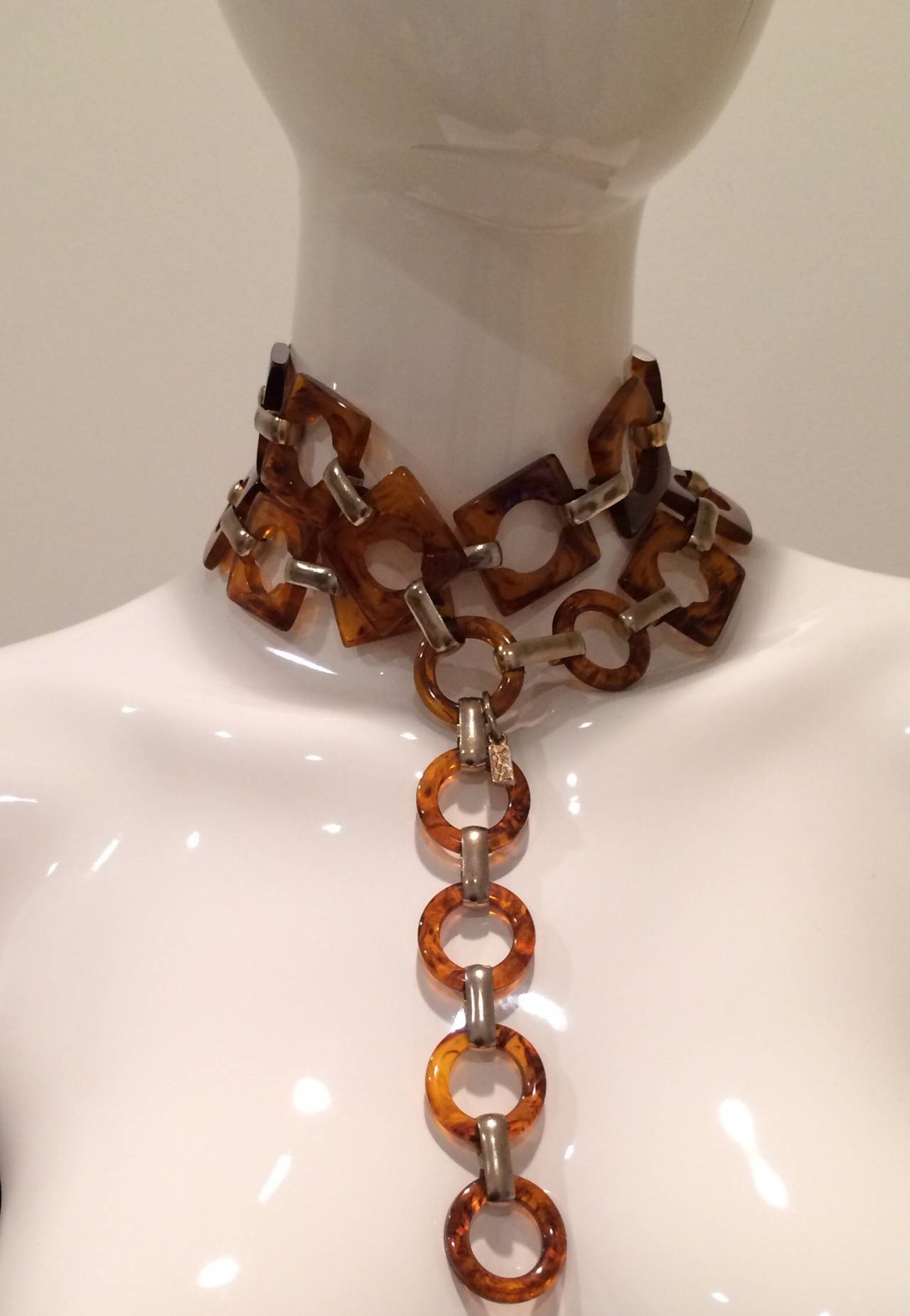 1970s Ysl Tortoise Link Necklace And Belt Vintage Yves