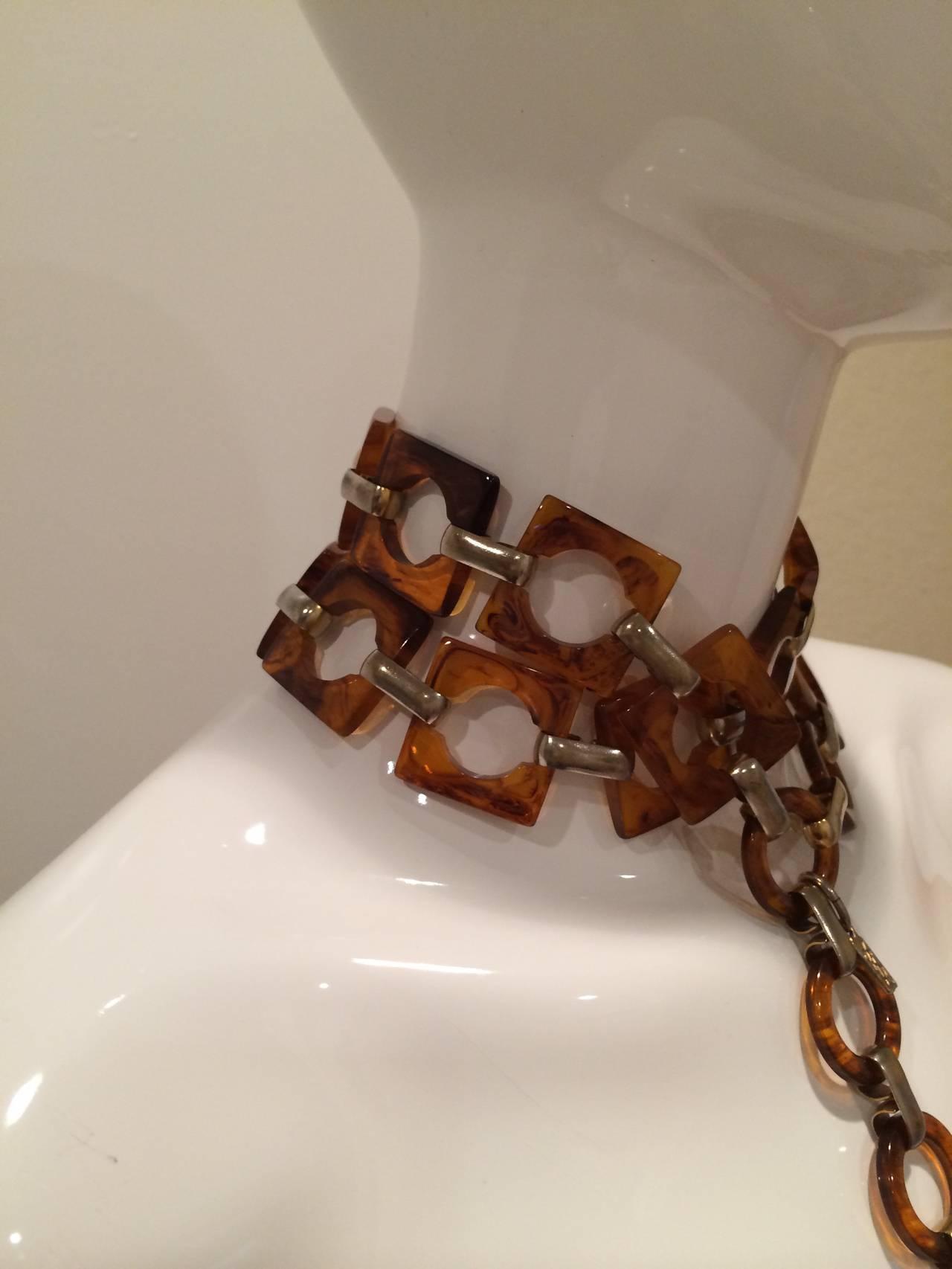 1970s Ysl Tortoise Link Necklace And Belt Vintage Yves