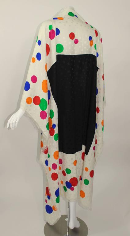 Magnificent Vintage Saint Laurent Silk Color Dot  Shawl / Scarf YSL  4