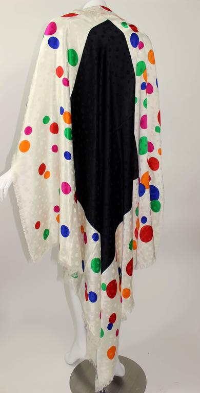 Magnificent Vintage Saint Laurent Silk Color Dot  Shawl / Scarf YSL  2