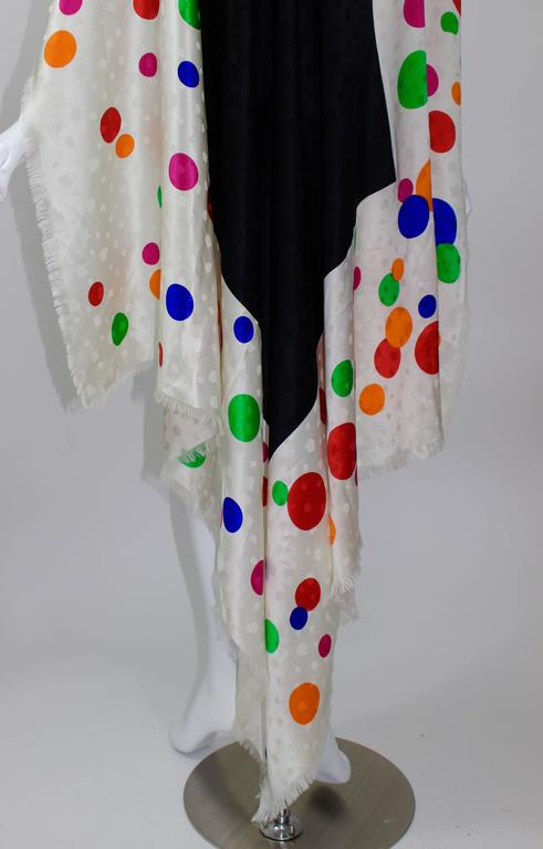Magnificent Vintage Saint Laurent Silk Color Dot  Shawl / Scarf YSL  5