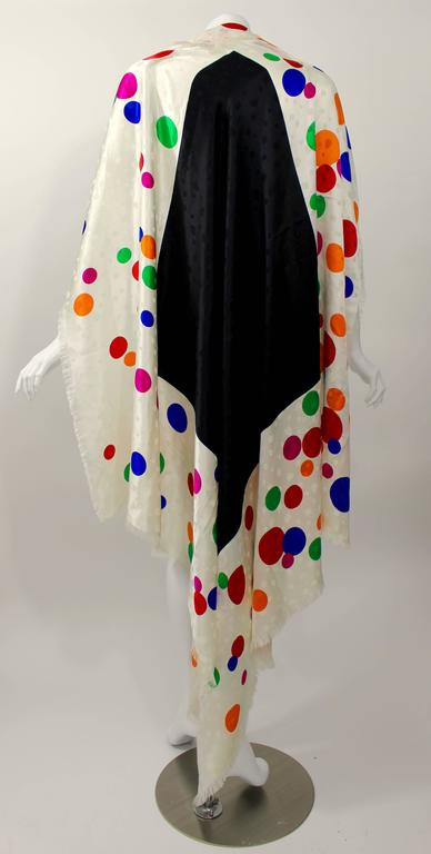 Magnificent Vintage Saint Laurent Silk Color Dot  Shawl / Scarf YSL  3