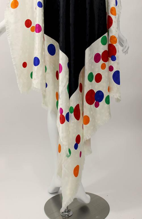 Magnificent Vintage Saint Laurent Silk Color Dot  Shawl / Scarf YSL  8