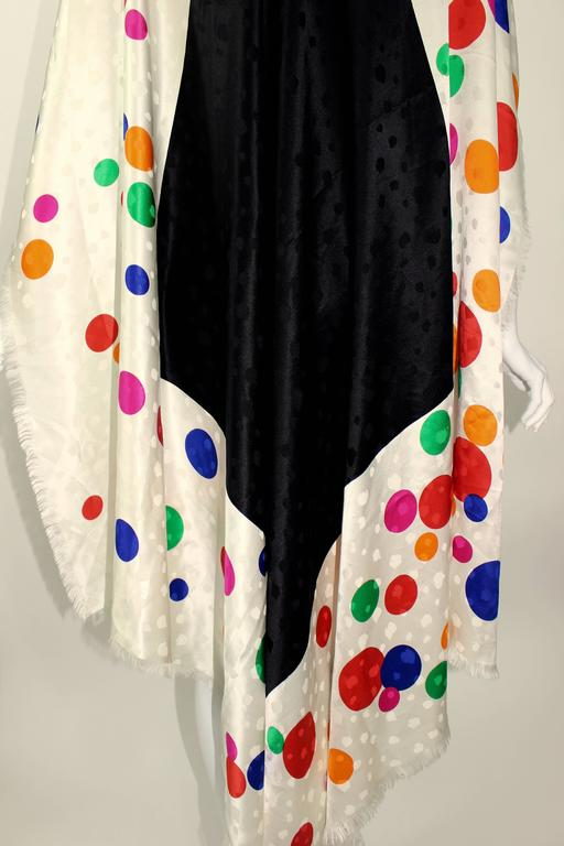 Magnificent Vintage Saint Laurent Silk Color Dot  Shawl / Scarf YSL  7