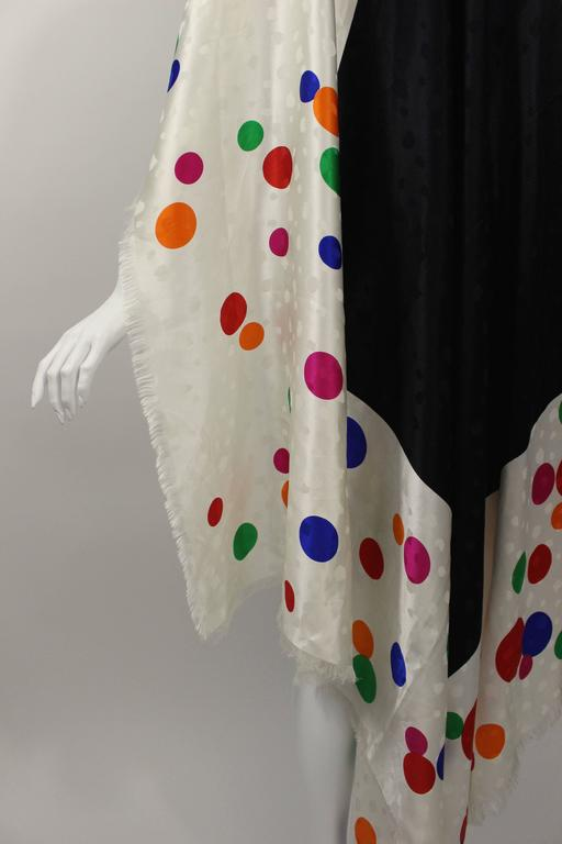 Magnificent Vintage Saint Laurent Silk Color Dot  Shawl / Scarf YSL  6