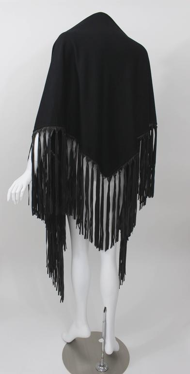 Hermes attributed Black  Cashmere & Leather Fringe Shawl 4
