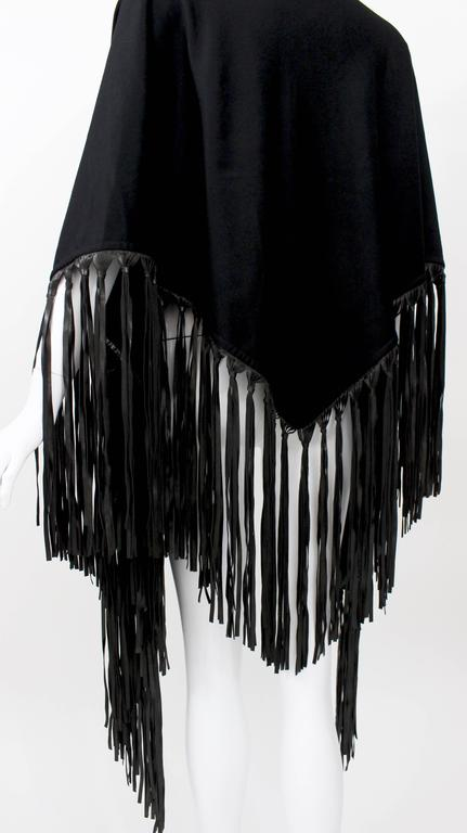 Hermes attributed Black  Cashmere & Leather Fringe Shawl 8