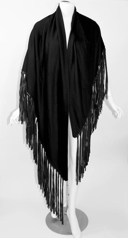 Hermes attributed Black  Cashmere & Leather Fringe Shawl 2