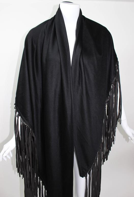 Hermes Attributed Black Cashmere And Leather Fringe Shawl