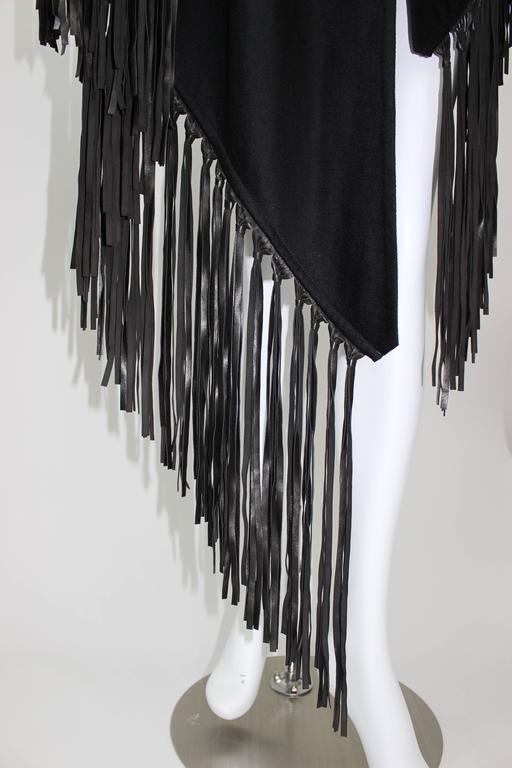 Hermes attributed Black  Cashmere & Leather Fringe Shawl 9