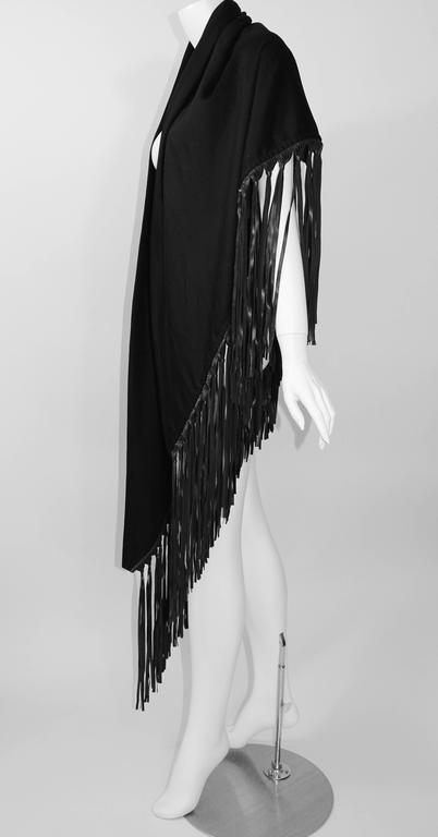 Hermes attributed Black  Cashmere & Leather Fringe Shawl 6