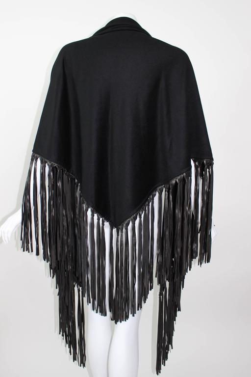 Hermes attributed Black  Cashmere & Leather Fringe Shawl 3