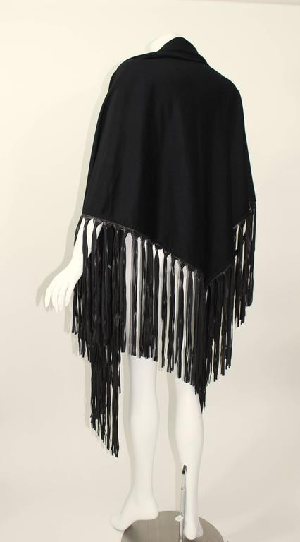 Hermes attributed Black  Cashmere & Leather Fringe Shawl 5