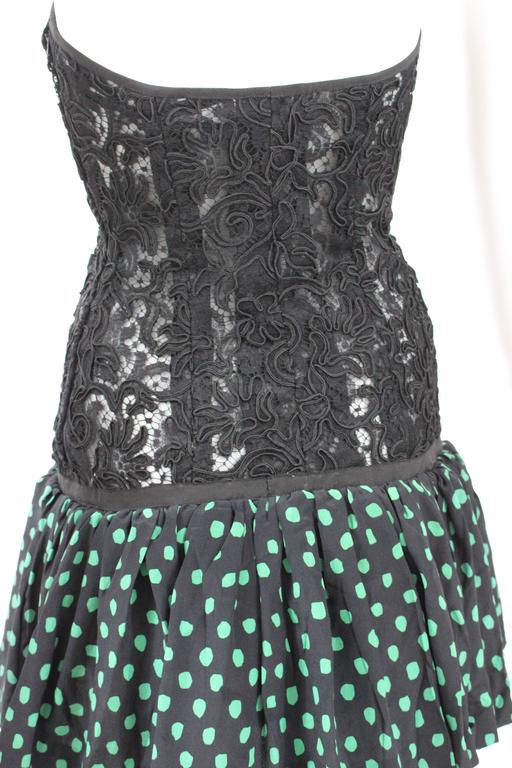 Vintage Yves Saint Laurent Black Strapless Lace and Silk Party Dress YSL For Sale 1