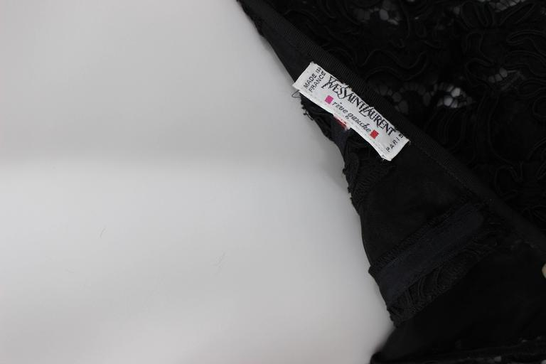 Vintage Yves Saint Laurent Black Strapless Lace and Silk Party Dress YSL For Sale 2