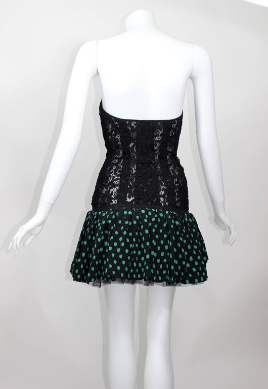 Vintage Yves Saint Laurent Black Strapless Lace and Silk Party Dress YSL 4