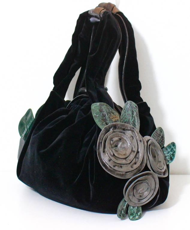Marc Jacobs Fall 2005 Velvet Handbag w/ Leather and Ostrich Flower ...