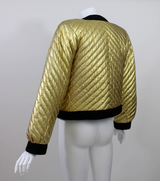 2ba62e56a54 Brown Vintage YSL Metallic Gold Quilted Leather Bomber Jacket Yves Saint  Laurent For Sale