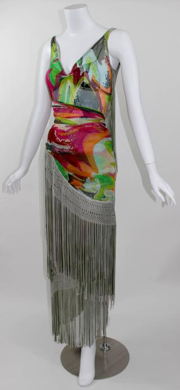 Missoni Runway 2004 Silk Colorful Fringe Scarf Cape