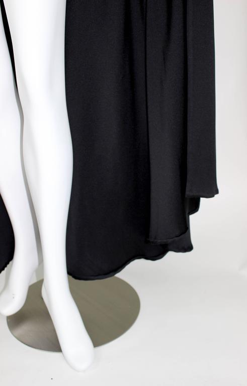 Valentino Haute Couture Vintage Black Silk Satin Cape 5