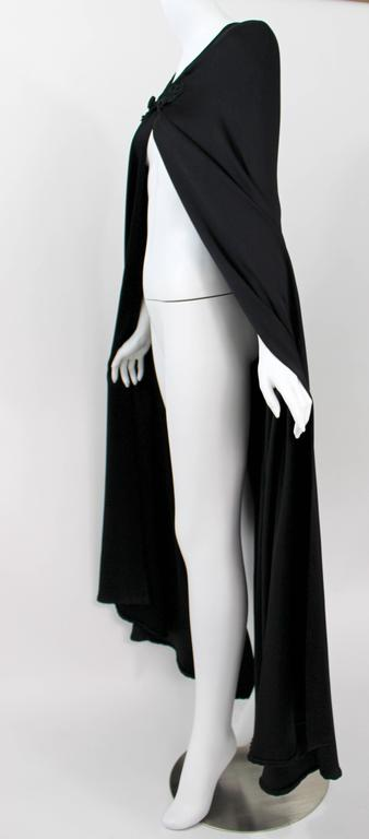Valentino Haute Couture Vintage Black Silk Satin Cape For Sale 2