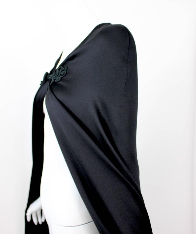 Valentino Haute Couture Vintage Black Silk Satin Cape For Sale 3