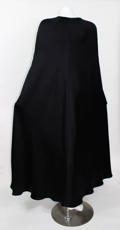 Valentino Haute Couture Vintage Black Silk Satin Cape For Sale 4