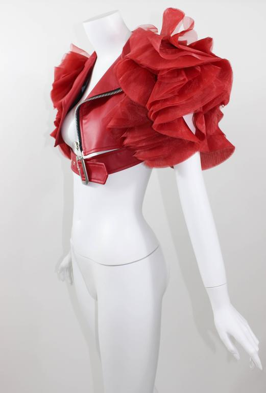 Junya Watanabe Comme Des Garcons Red Faux Leather Ruffle Jacket 6