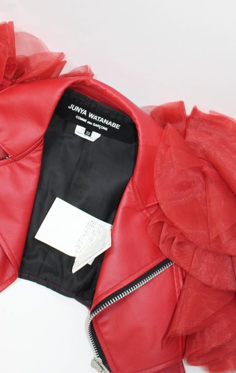 Junya Watanabe Comme Des Garcons Red Faux Leather Ruffle Jacket 10