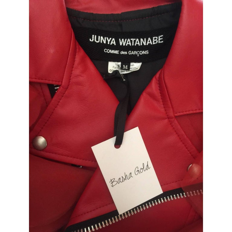2012 Junya Watanabe Comme Des Garcons Red Faux Leather Ruffle Cropped Jacket 10