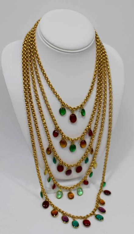 Contemporary Rare Vintage Chanel 5 Strand Gold Chain Colorful Gripoix Bead Necklace 1980s For Sale