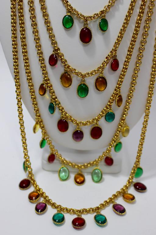 Rare Vintage Chanel 5 Strand Gold Chain Colorful Gripoix Bead Necklace 1980s In Excellent Condition For Sale In Boca Raton, FL