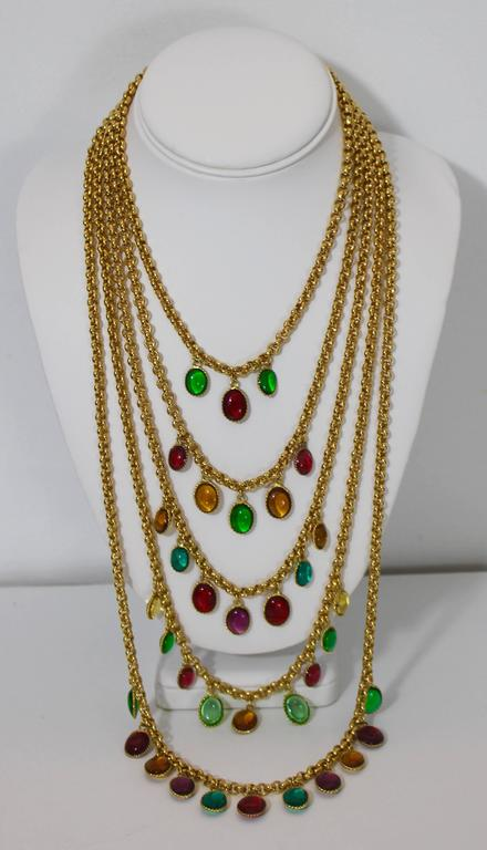 Rare Vintage Chanel 5 Strand Gold Chain Colorful Gripoix Bead Necklace 1980s For Sale 3